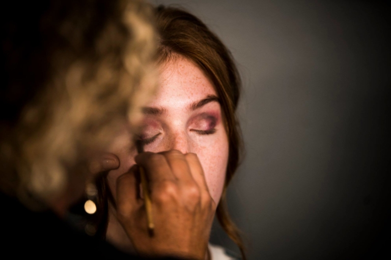 Garbo's Makeup Artist Applying Eyeshadow