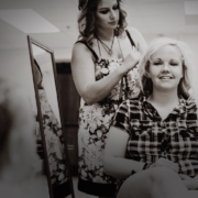 Stylist working on a client's hair