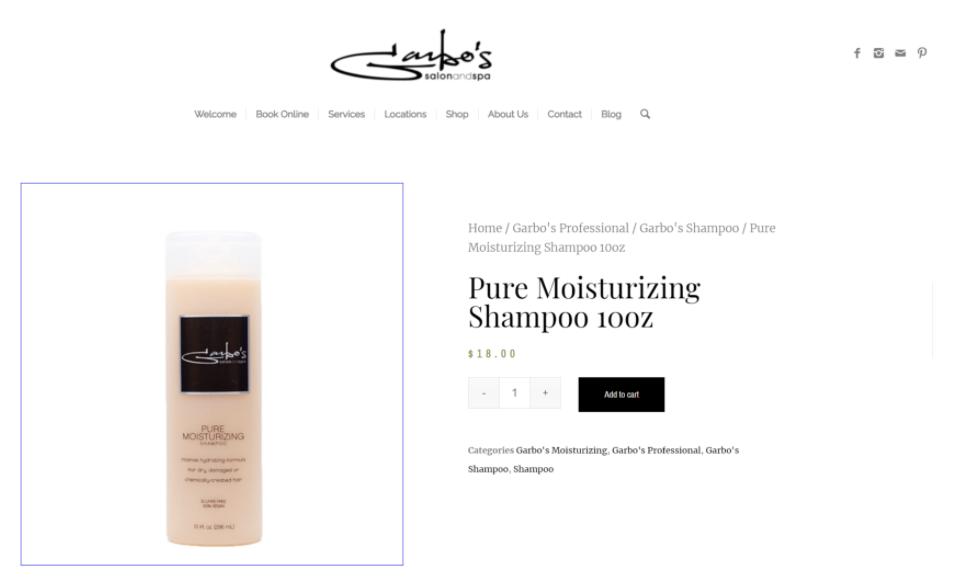 Garbo's moisturizing shampoo, a healthy hair product.